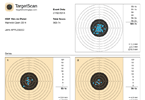 Shooting session report including target plots for each series and individual shot scores
